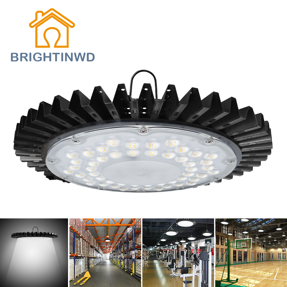 BRIGHTINWD Industriellt ultratunt UFO High Bay Light High Lumen 100W 220V-240V SMD2835 LED-lampa för fabrik / lager