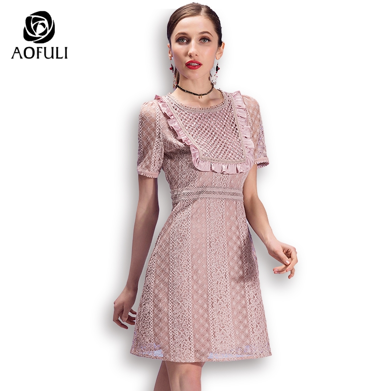 AOFULI S- XXXL 4XL 5XL Sexy Ladies Lace Casual Dress Plus Size Women Short  Lace Dress 2018 Summer Fashion Brand Vestidos 3013 81a8a41fabdc