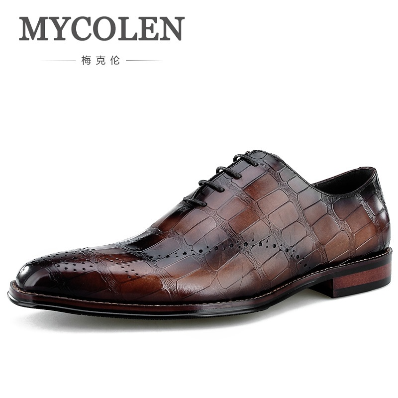 MYCOLEN New Arrivals Men Flats Fashion High Quality Genuine Leather Shoes Men Lace-Up Brogue Business Formal Dress ShoesMYCOLEN New Arrivals Men Flats Fashion High Quality Genuine Leather Shoes Men Lace-Up Brogue Business Formal Dress Shoes