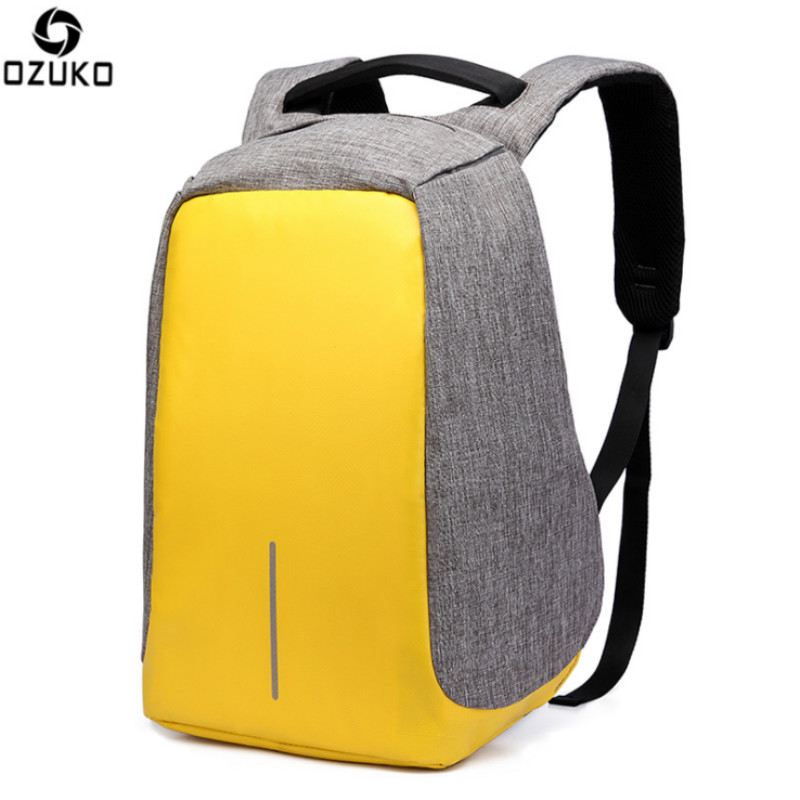 OZUKO Anti-theft Waterproof Laptop Backpack Men Women External USB Charge Notebook Backpack with Rainproof Cover Computer Pack ozuko multi functional men backpack waterproof usb charge computer backpacks 15inch laptop bag creative student school bags 2018