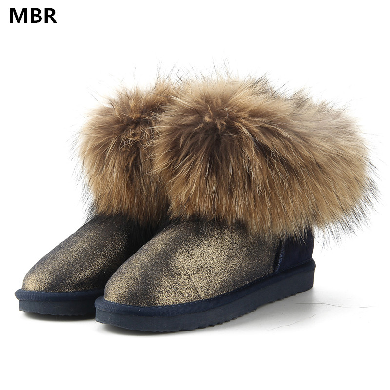 MBR Top Fashion 2017 Women's Natural Fox Fur Snow Boots 100% Genuine Cow Leather Winter Boots Female Winter Shoes Women UG Boots