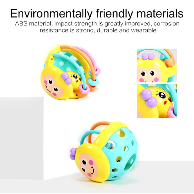 1 Pc Soft Rubber Cartoon Bee Hand Knocking Rattle Dumbbell Baby Early Educational Toys for Kids Preschool Tools Games Gifts 5