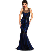 New Sparkling Dress Luxury Womens Clothing Long Patterns Mesh Patchwork Bodycon Mermaid Dress Floor Length Sequin