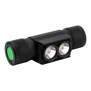 Image 3 - BORUiT D25 podwójny XM L2 LED Mini reflektor 6 Mode 5000lm potężny reflektor akumulator 18650 Head latarka kempingowa polowanie