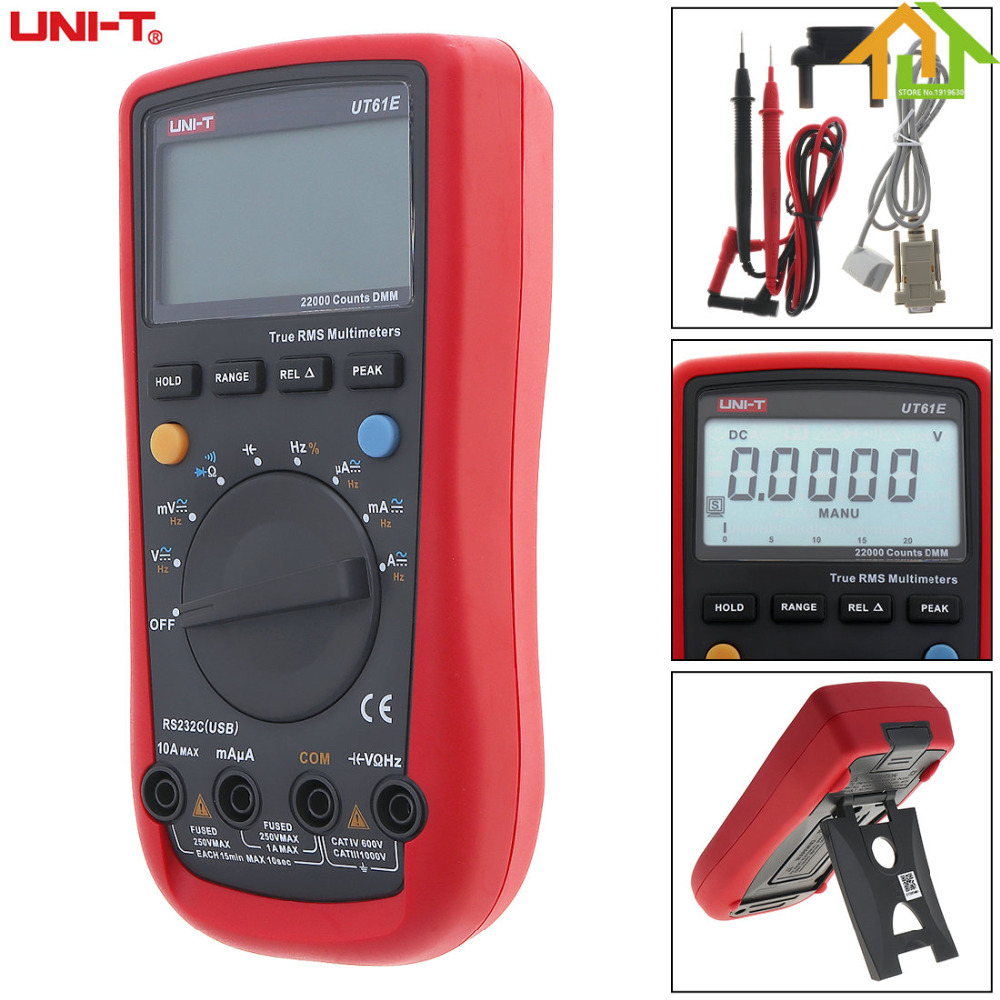 UT61E LCD Display 22000 Counts Handheld Digital Multimeter Support Data Retention and Peak Measurements with Backlight and Adapt lcd digital compact pen type multimeter dmm lcd backlight display with english manual
