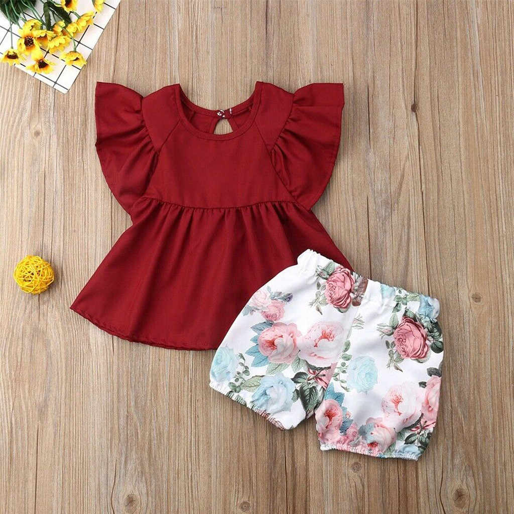 Toddler Girl Clothes Ruffled Tops Flower Floral Print Shorts 2PC Outfuits Sets Vetement Enfant Fille Kids Summer Clothes 2019