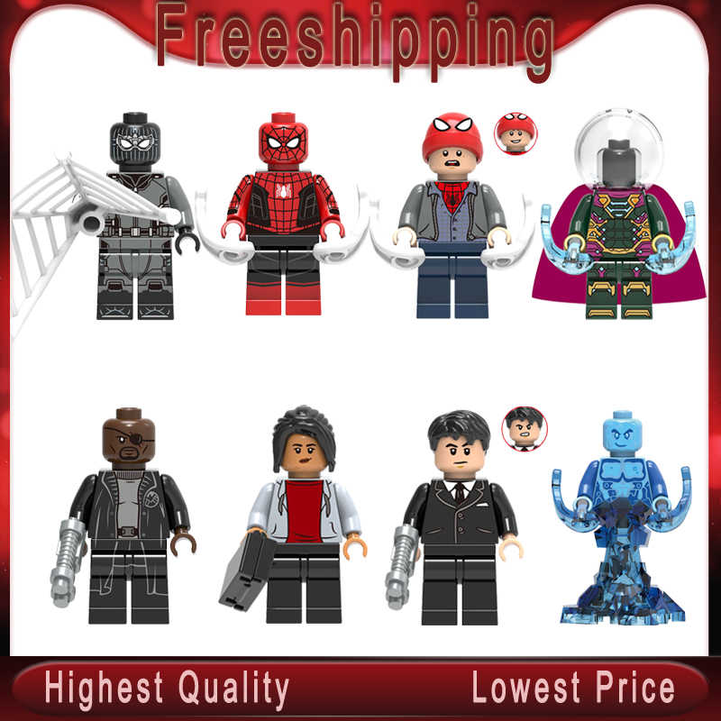 Super heros Michel Jones Peter Parker Nick Fury Hydro-Man Mysterio Happy Hogan Building Blocks Brinquedos Para Crianças Presentes x0249
