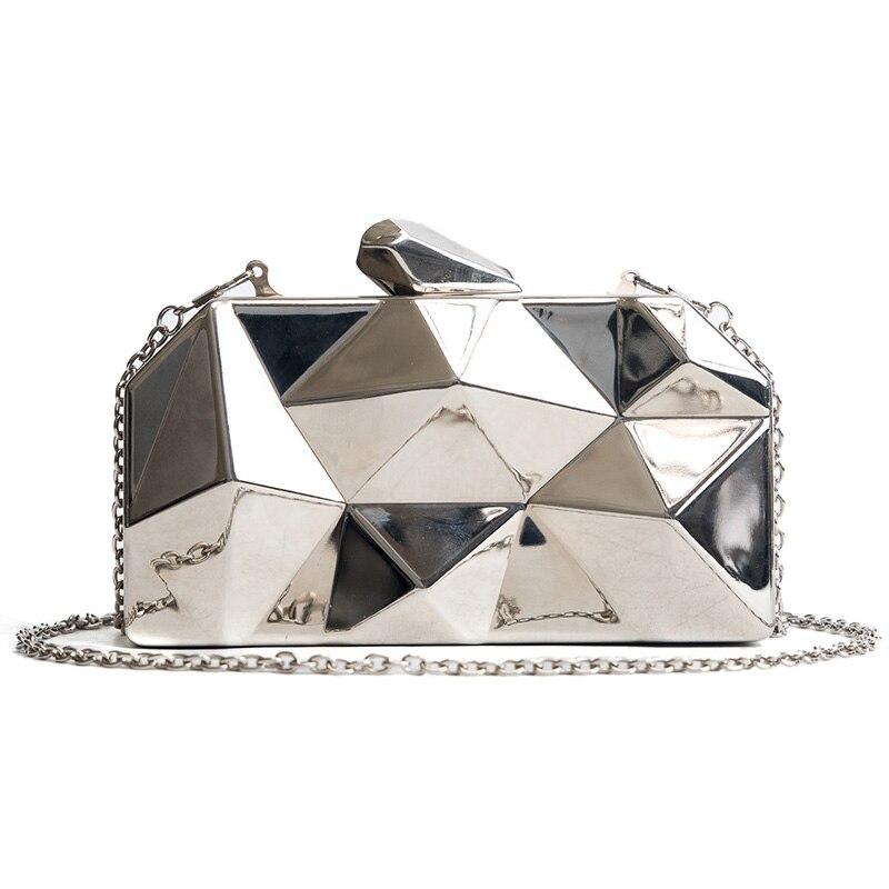 2018 Fashion New Handbag Quality Alloy Women bag Laser Diamond Box Evening bag Chain Shoulder Messenger Bag Small Party Hand bag