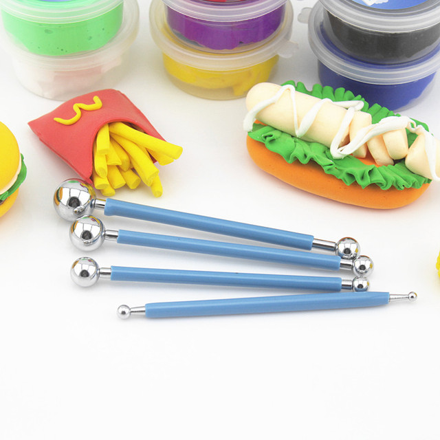 4PCS/SET Color Play Dough Model Tool Toys Creative 3D Plasticine Tools Playdough Set Kit slime Use Tool