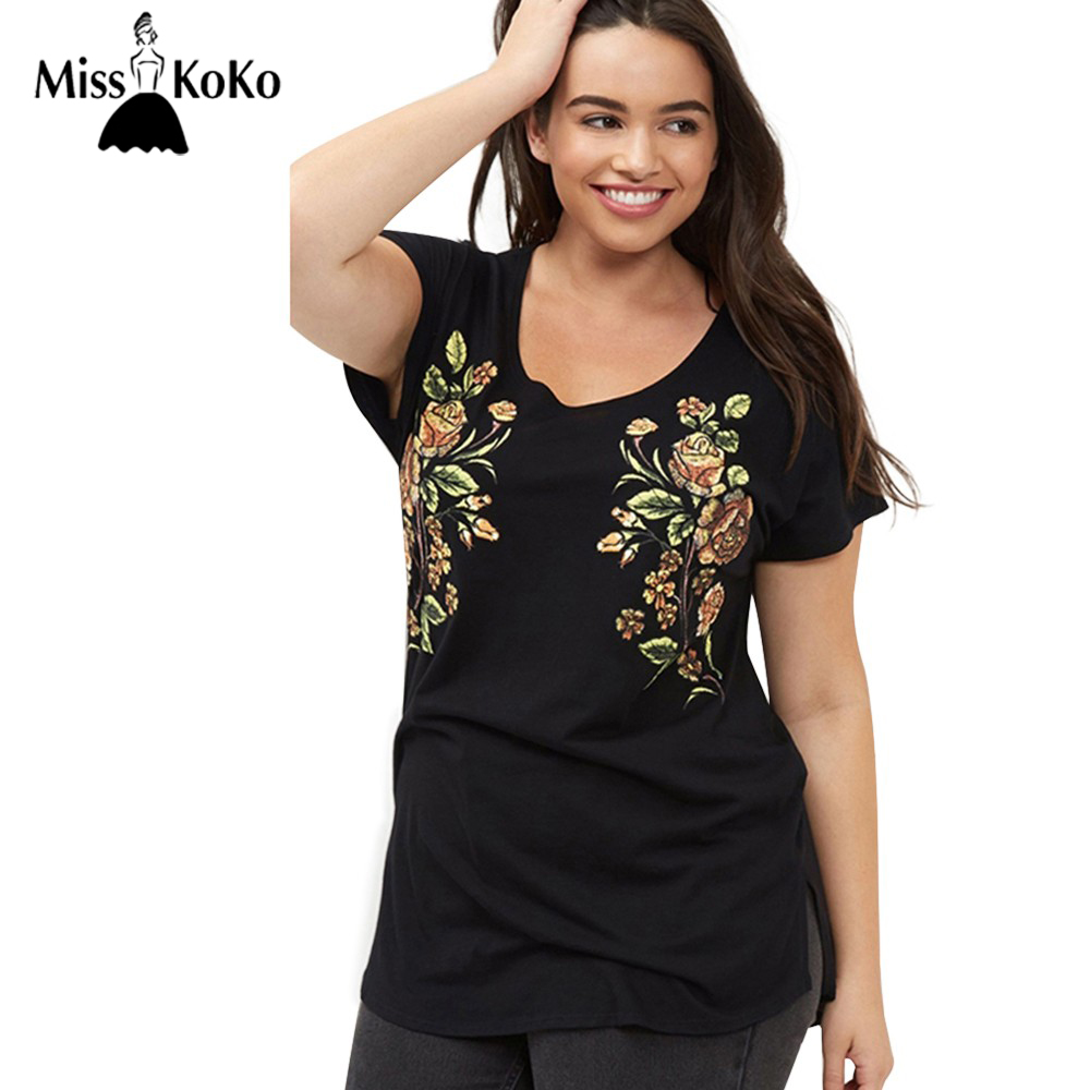 Misskoko Plus Size New Fashion Women Clothing Casual Short Sleeve O Neck Tops Floral Embroidery