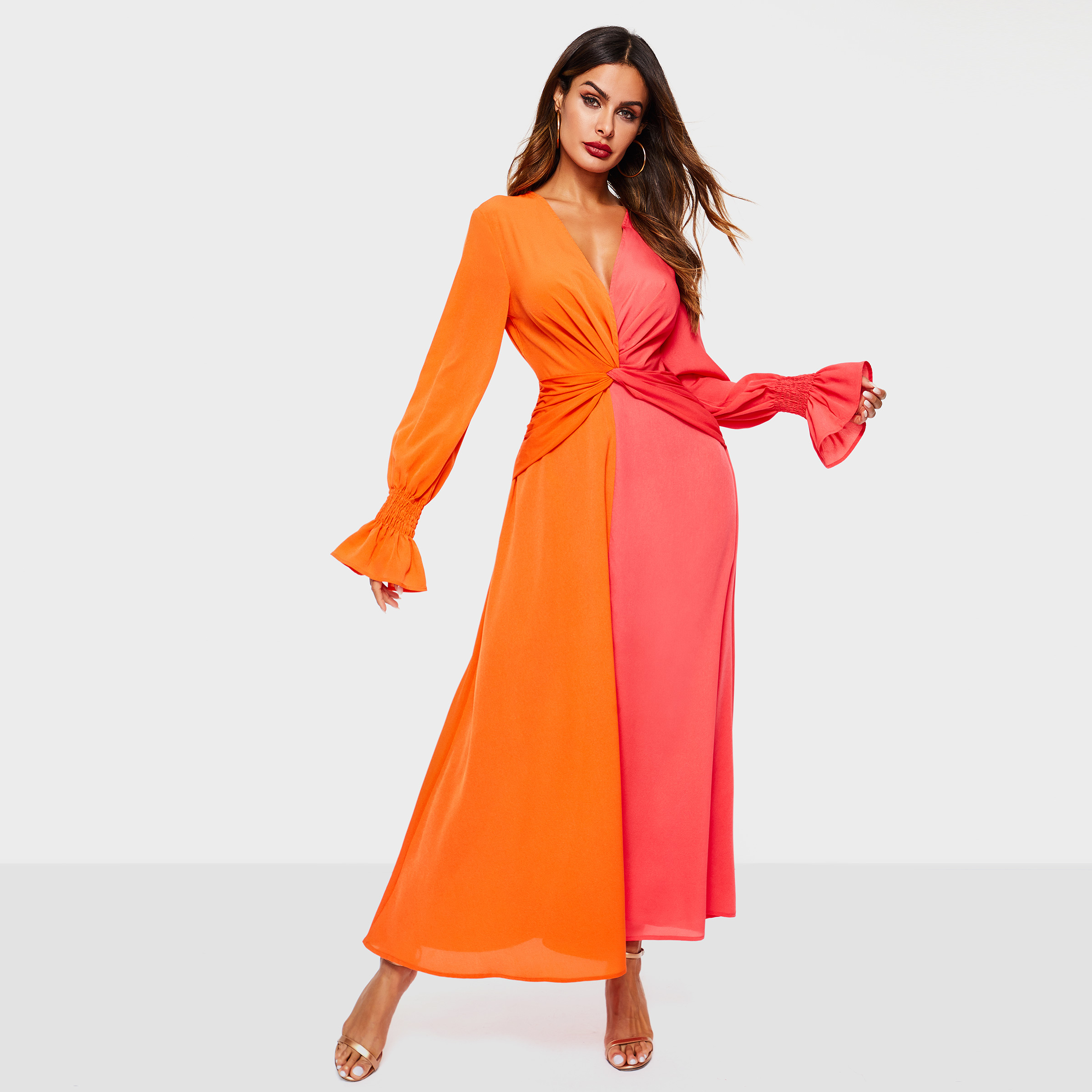 Women Color Block Long Sleeve Party Maxi Dresses Sexy Open Back V Neck Yellow Female Fashion