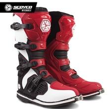 SCOYCO MBM001C racing ATV motorrad lange schuhe off-road motocross stiefel Botas MX Dirt bike Sport Schutz Leder motorrad