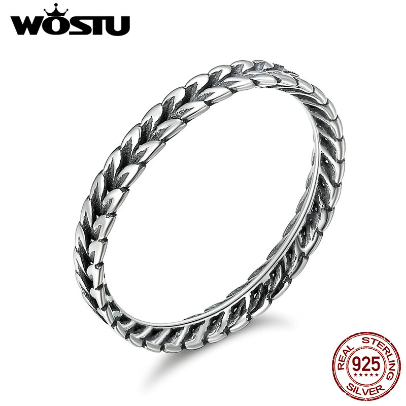 WOSTU Authentic 100% 925 Sterling Silver Vintage Smell Of Field Stackable Rings For Women Fine Silver Jewelry Gift CQR139 wostu new arrival real 925 sterling silver luminous glow rings for women authentic fine jewelry gift zbb7640