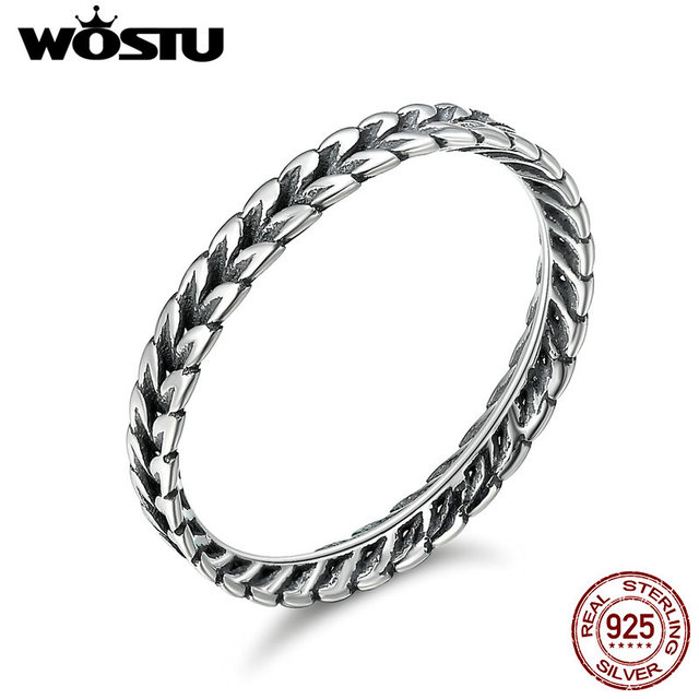 WOSTU Authentic 100% 925 Sterling Silver Vintage Smell Of Field Stackable Rings