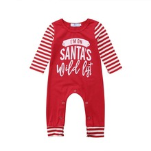 Child Woman Boy Christmas Lengthy Sleeve Romper Letter Striped Autumn  Jumpsuit Garments Outfits Youngsters Child Woman Boy Clothes