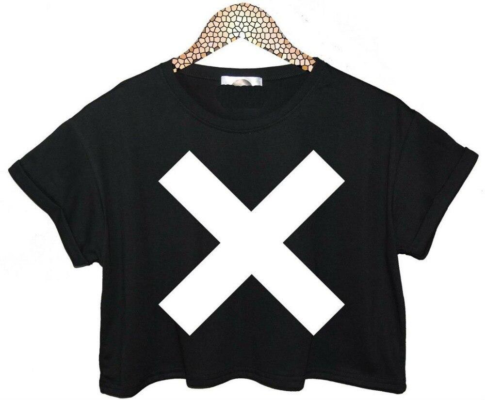 Black t shirt white cross - Women Summer Crop Top Cross Xx Letters Short T Shirt 2015 Sexy Slim Funny Top Tee