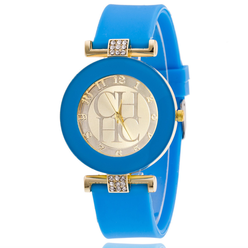 Hot Sale Luxury Brand CH Women Casual Dress Quartz Watch Fashion Gold Full Silicone Crystal Bear Lady Digital Watch Relogios