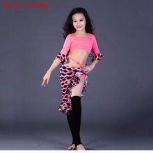 New competitio Kids Girls 3 colors Oriental Dancing Clothes Round Neck Tops&Skirt Belly Dance Set Costumes For Children