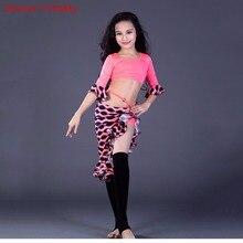 Nowość competitio Kids Girls 3 kolory orientalne ubrania do tańca koszule z okrągłym dekoltem i spódnicą zestaw do tańca brzucha kostiumy dla dzieci
