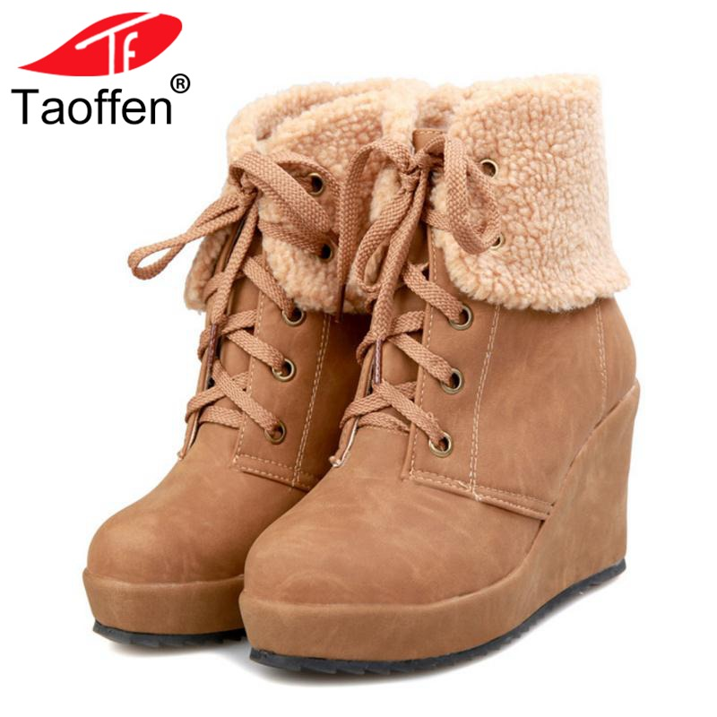 TAOFFEN Women Warm Wedge Boots Winter Plush Fur Shoes Woman Lace Up Ankle Boots Fashion Round Toe Platform Shoes Size 34-39 russian women winter warm fur ankle boots woman fashion rivets buckle style shoes feminine round toe flat snow botas size 34 39