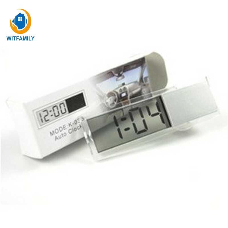 Automobile Sucker Type Clock Transparent Liquid Crystal Display Digital Electronic Mini Alarm Clock New Arrival