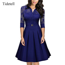 Elegante high neck halbarm knielangen cocktail dress vintage dress lace see-through frühling herbst mitte länge frauen dress
