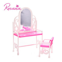 Rosana Princess Dressing Table with Chair for Barbie Dolls Bedroom Dresser Furniture Girls Play House Doll Accessories Toys Gift(China)