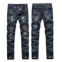 new Fashion Style Motorcycle cool Men Moto Biker Jeans Straight Slim Fit Denim Pants Distressed Blue