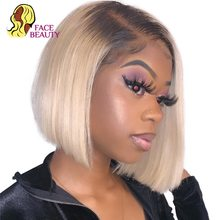 Honey Blonde Virgin Hair Preplucked Blunt Cut Long Glueless Full Lace Front Frontal Closure Black Wavy Body Wave Bob Wig(China)