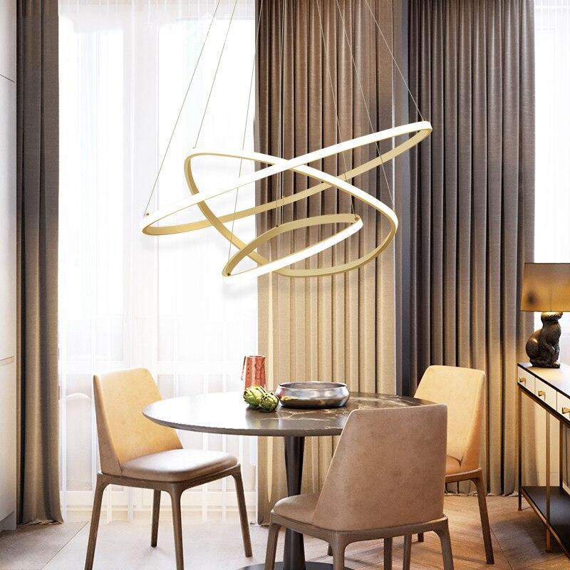 все цены на Modern LED living dining room pendant lights suspension luminaire suspendu led ring lighting lamp fixture de techo colgante