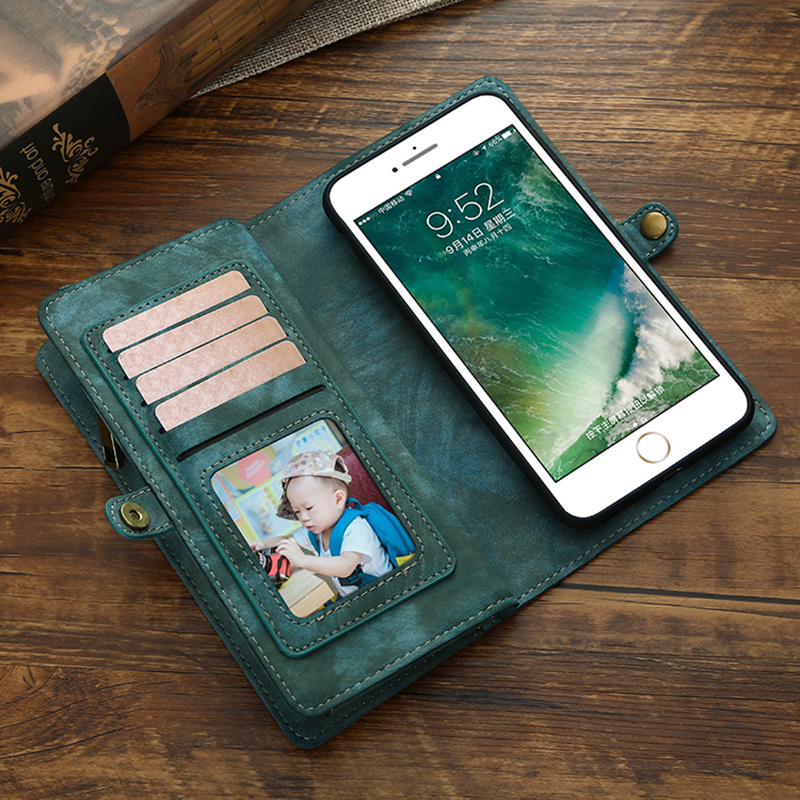 For iPhone x case MEGSHI removable bracket Wallet case for iPhone 6 7 8 case retro pure color multifunctional wallet case