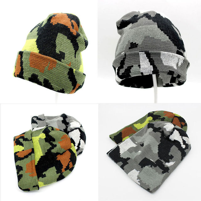 055708638172e Unisex Camo Hats Men s Women s Hat Warm Winter Cotton Knit Cap Hip-hop  Skull Beanie Hats
