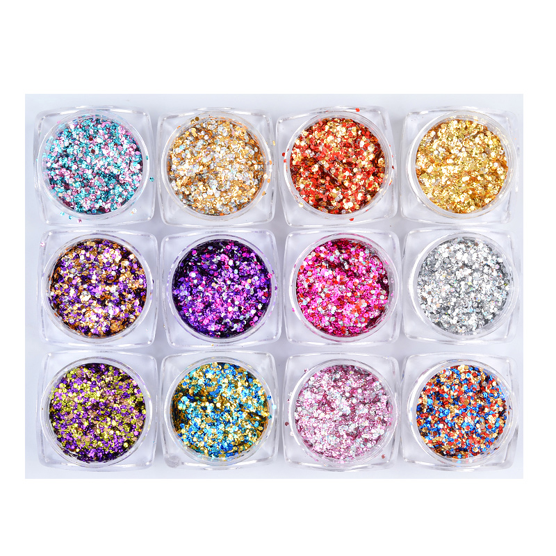 12 Boxes / set Mixed Nail art glitter sticker decorations Ultra-thin Hexagon Colorful Nail sequin flakes DIY manicure tools заклепочник усиленный fit 32048