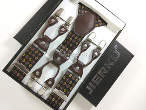 Image 5 - 2019 Fashion Mens suspenders Genuine leather Jacquard mens trouser braces 6 clips adult suspensorio tirantes hombre bretelles