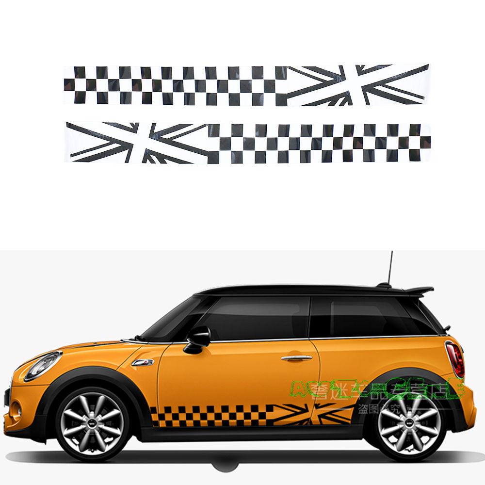 Bumper sticker creator uk - 2x Black Checkered Uk Flag Vinyl Stickers For Mini Cooper Side Skirt L R
