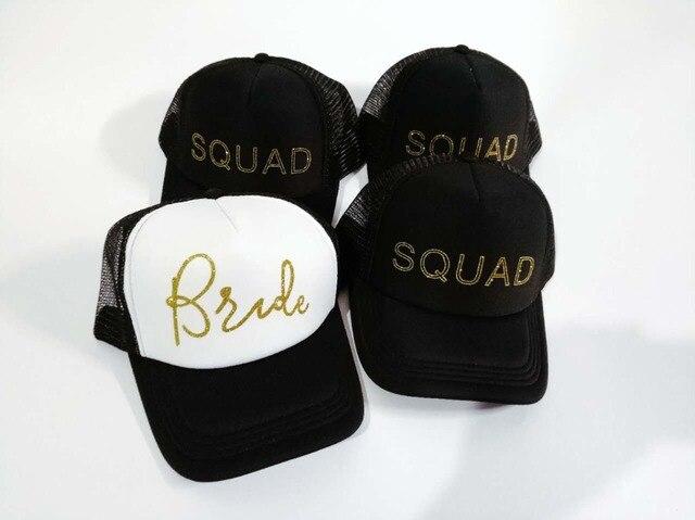 af16cfbe2b1 wedding baseball hats party caps glitter gold bride squad bridal bridesmaid  trucker rapper cap .