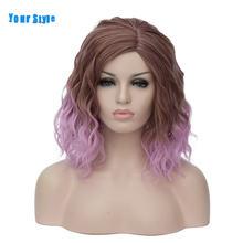 Женский короткий волнистый парик 22 цвета красный зеленый розовый