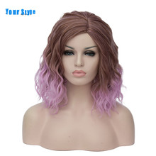 Your Style 22 Colors Ombre Colored Red Short Wavy BOB Cosplay Wigs Female Synthetic  Natural Women Green Pink Rainbow