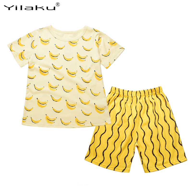 Boys Summer Clothing Set Cotton Girls Clothes Banana Printing T-shirt+ Pants Boy Girl Clothing Sets Kids Clothes CF427