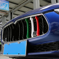 Car Styling Tricolor Front Grille decoration strips ABS exterior cover trim Sticker for Maserati Ghibli Quattroporte accessories