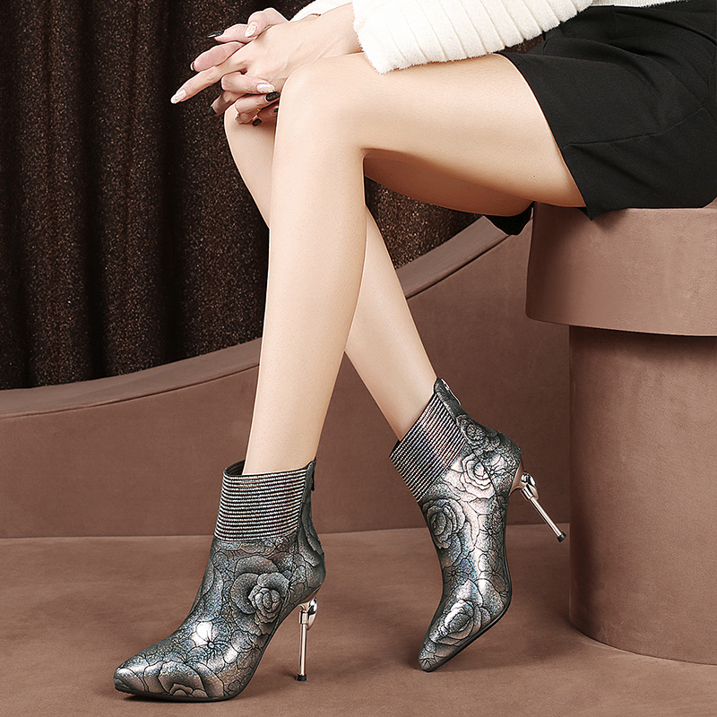 Brand Design Sexy Rose Pattern Genuine Leather Ankle Boots For Women Stiletto High Heels Shoes Botines