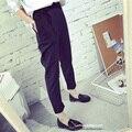 Plus size XXL Mulheres Calças 2017 Moda Harem Pants Soltas Cor Sólida Sexy Feminino Botão Arco Friso Calças Pantalones Mujer