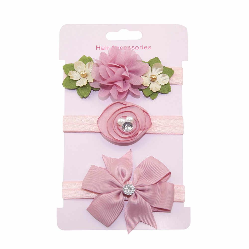 Bandas para la cabeza de flores de perlas de belleza cinta para el pelo de Nylon Floral para recién nacidos niños seguro accesorios para el cabello de regalo Boutique Artificial