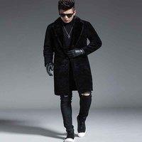 Овечья Стриженый Мех Кожа интегрированная Мужская Длинная шерстяная куртка влажная P1460 норковая шуба