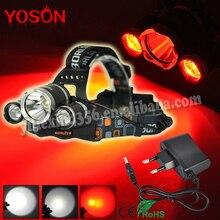 Newest Boruit 3 LED XM-L T6+ XPE Red LED Headlight linternas frontales cabeza 5000 lumenes Torch 4 Modes Headlamp + AC Charger