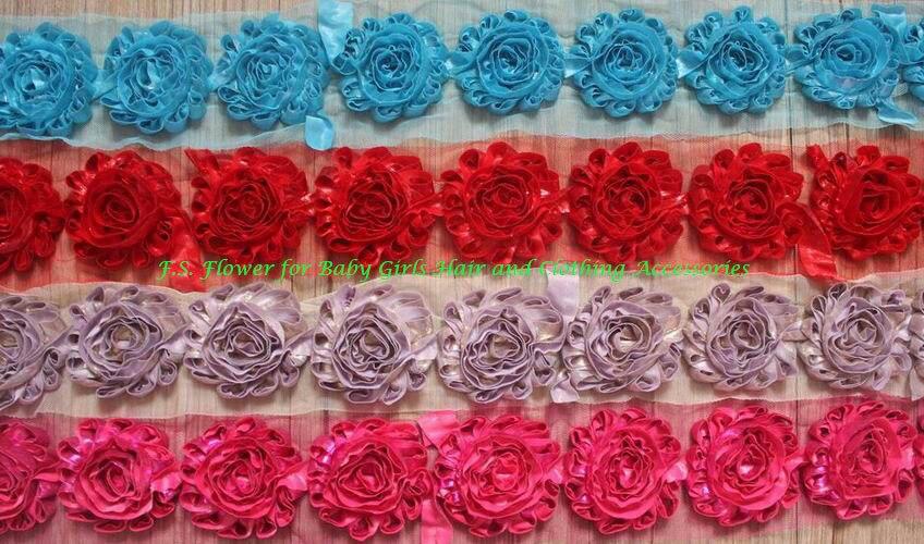 Free DHL 55y 2 5 Shimmer Metallic Shabby Flowers for Girls Headbands Kids Hair Accessory Flowers