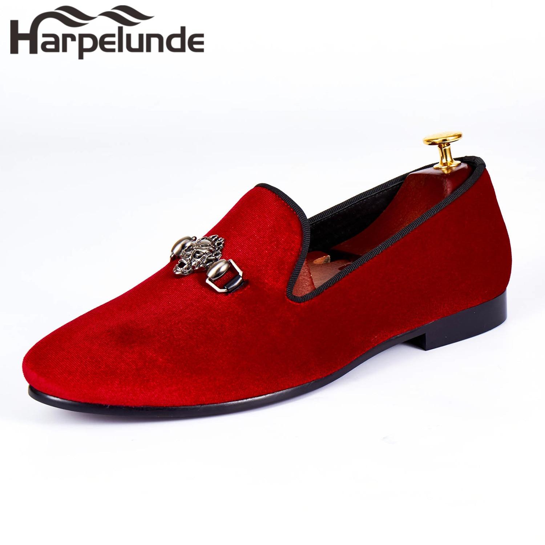 Harpelunde Men Loafer Shoes Skull Buckle Red Velvet Flats Size 6-14
