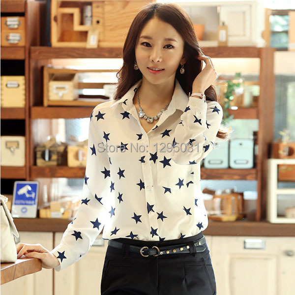 Online Shop Women Tops Fashion 2015 Casual Star Print Long Sleeve ...