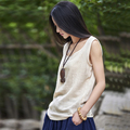 2017 New Summer Sleeveless Linen Cotton Women Tanks Soft O Neck Conforatble Vest Hot Tops Color White Navy Orange Green