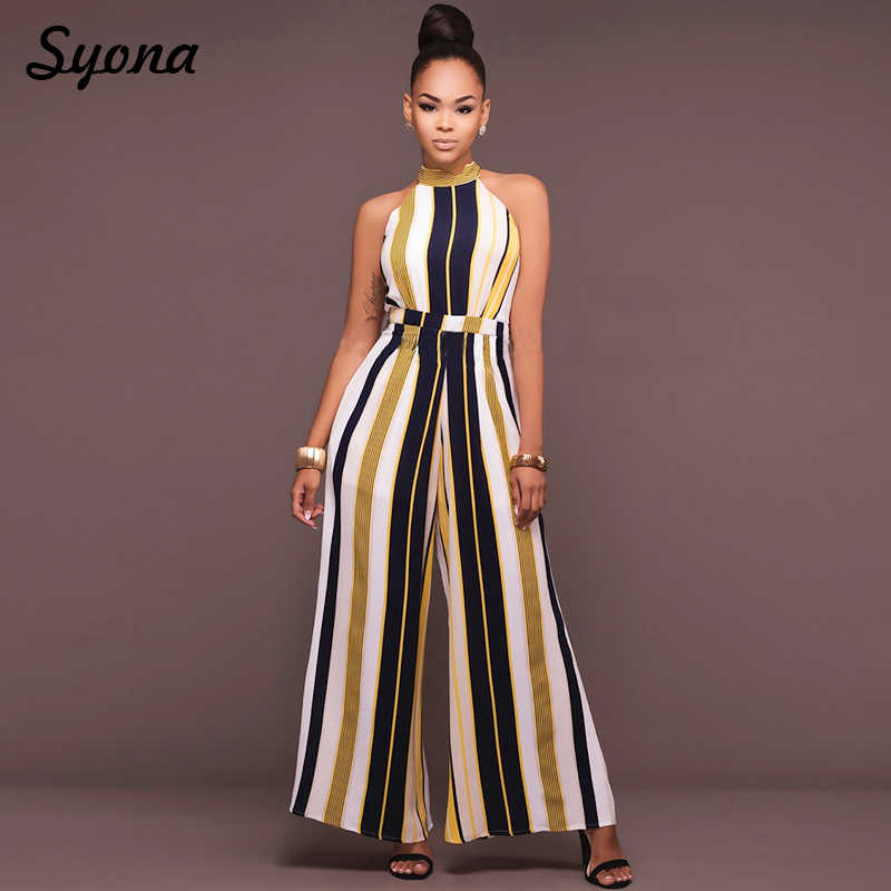 3ddf40b53eb3 2018 WOMENS Culotte JUMPSUIT ROMPERS Formal Office Party Wide Leg Pants  Elegant Baggy Overalls Striped Palazzo